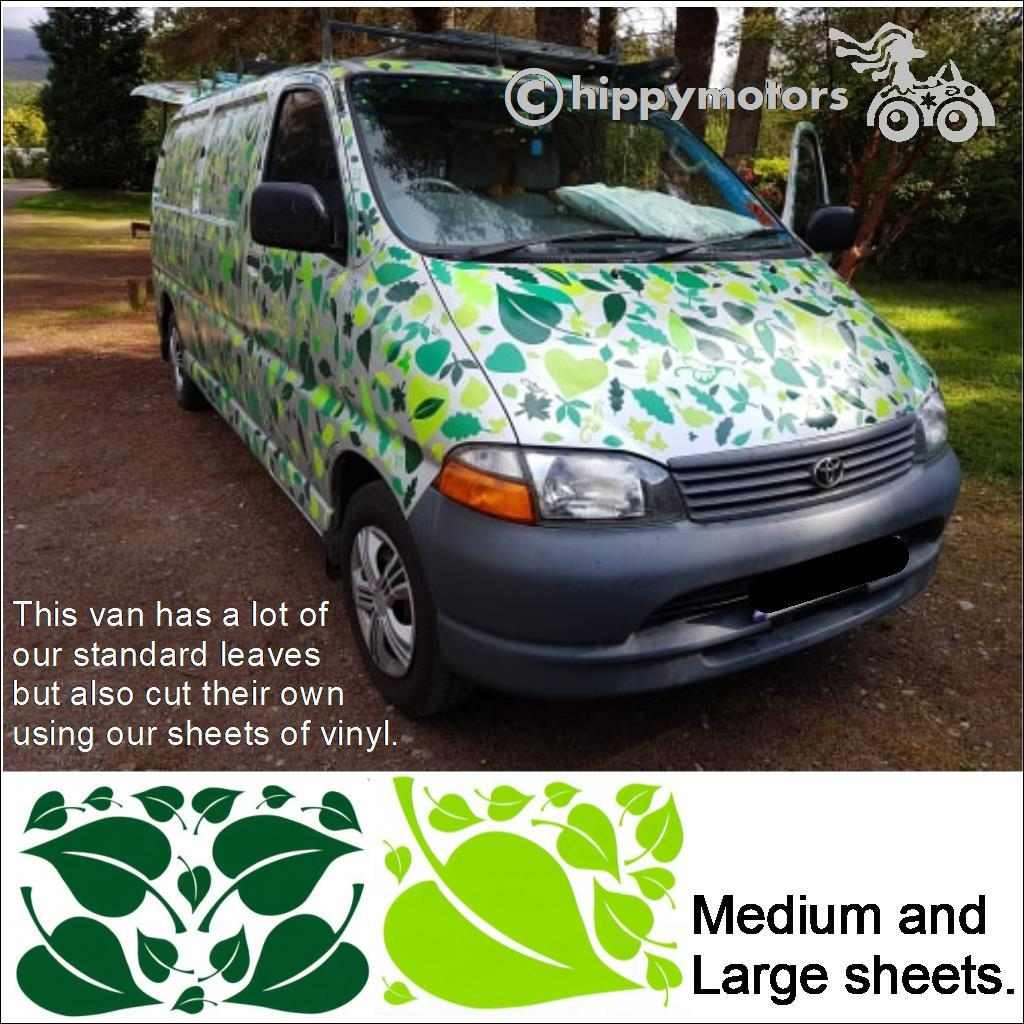 van with leaves and hearts on it to look camouflaged