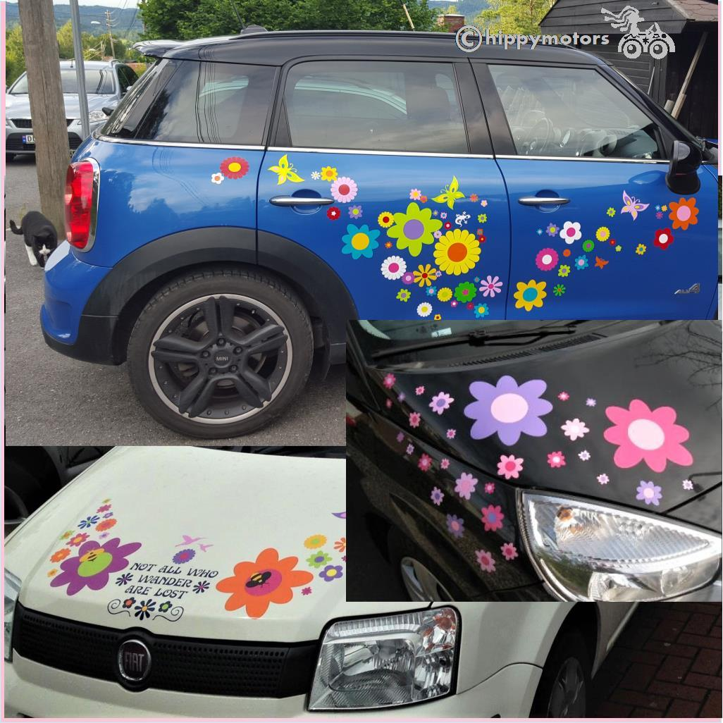 big retro flower stickers on mini cooper car and caravans