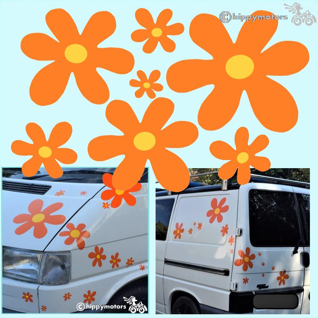 Scooby Doo flower vinyl decals on a car and van