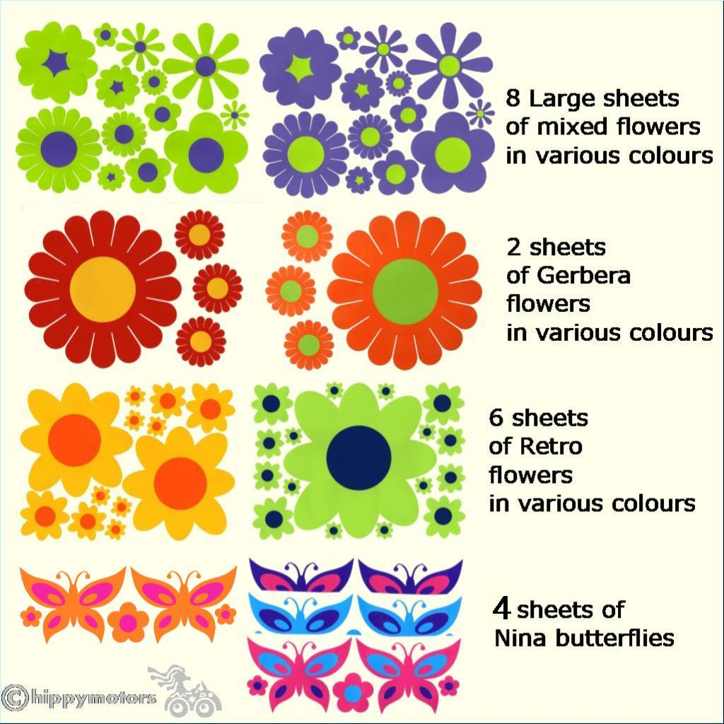 multipack Flower decal set for cars caravans camper vans
