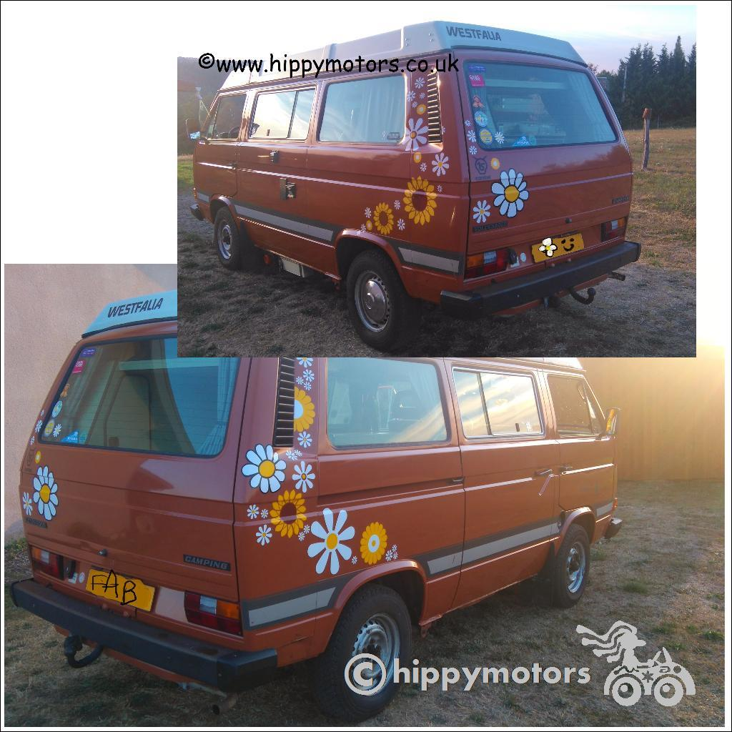 Big high quality flower decals on camper van