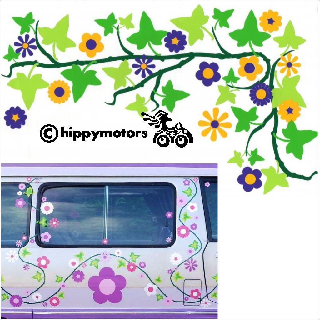 flower vine on camper van