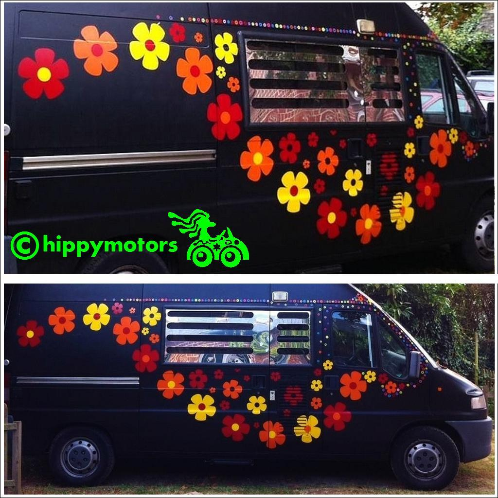 Large colourful flower decals on van