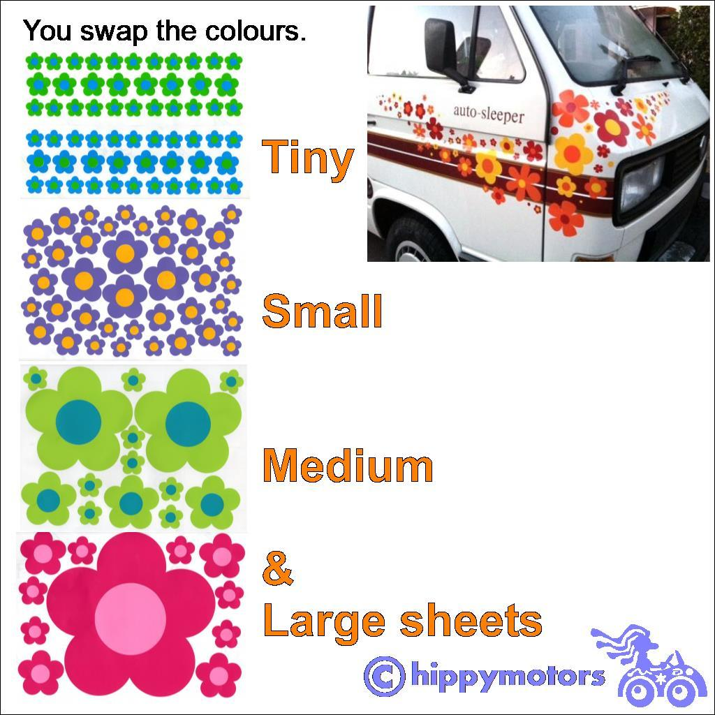 hippy motors flower decal sheets