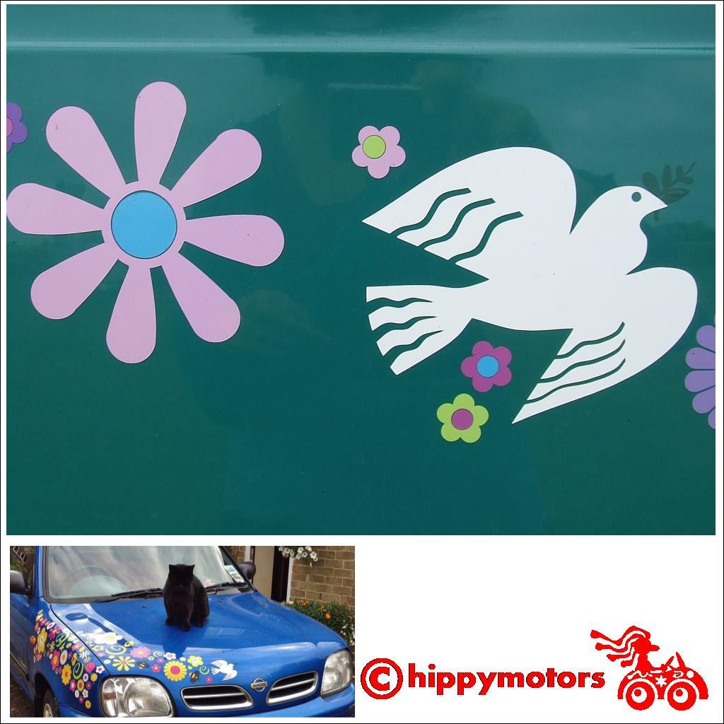 Peace Dove and flower decals on van