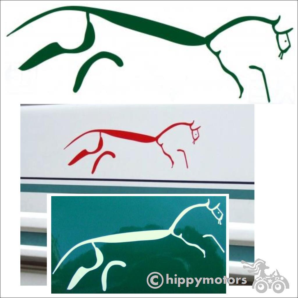 white horse Uffington car sticker decal transfer hippy motors