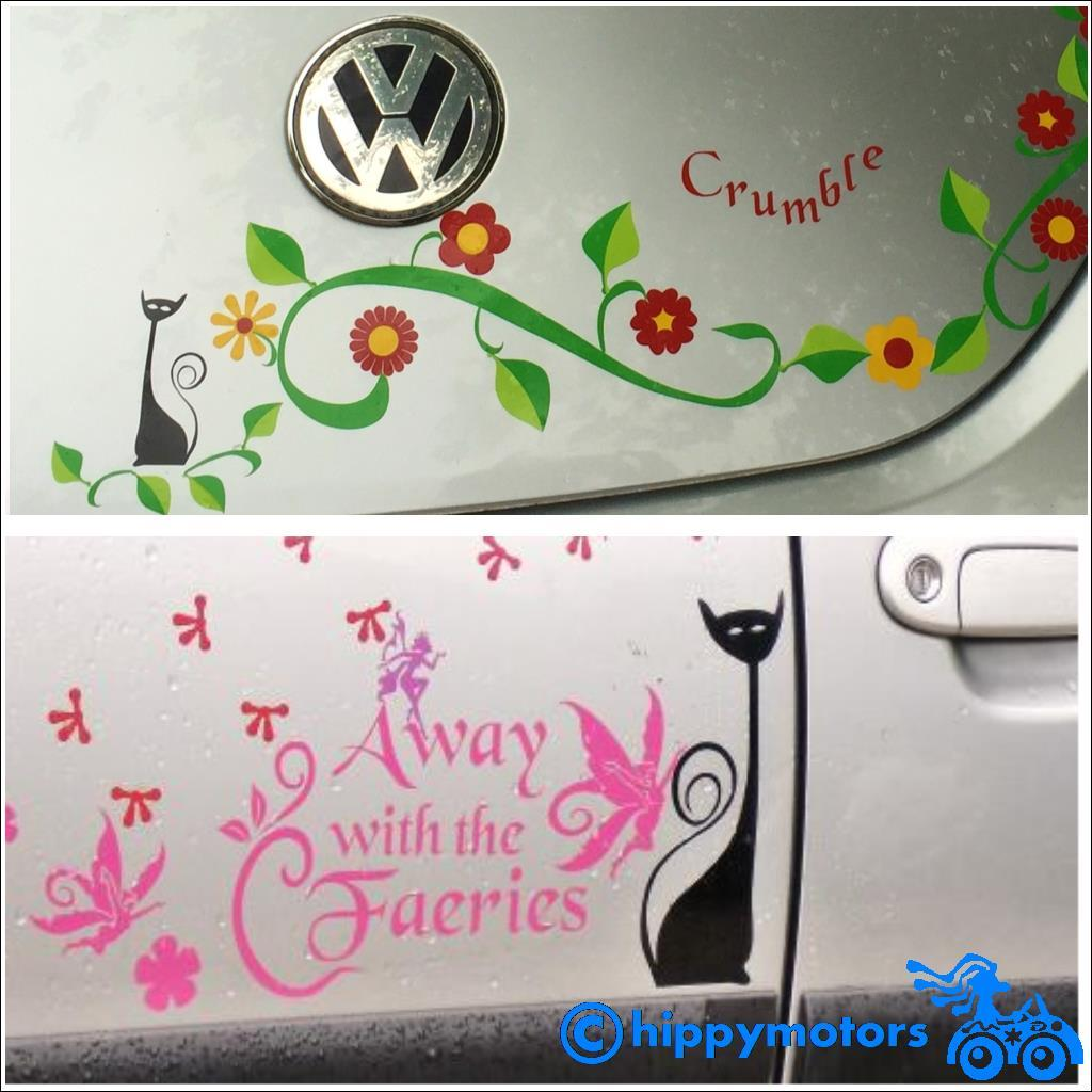 Cat and flower decals on cars