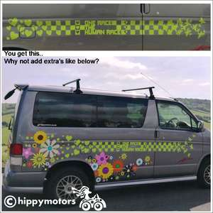 one race checks with hearts vinyl sticker stripe on Bongo camper van