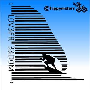 Surfer in a bar code decal