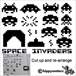 space invader vinyl decals for camper van car window