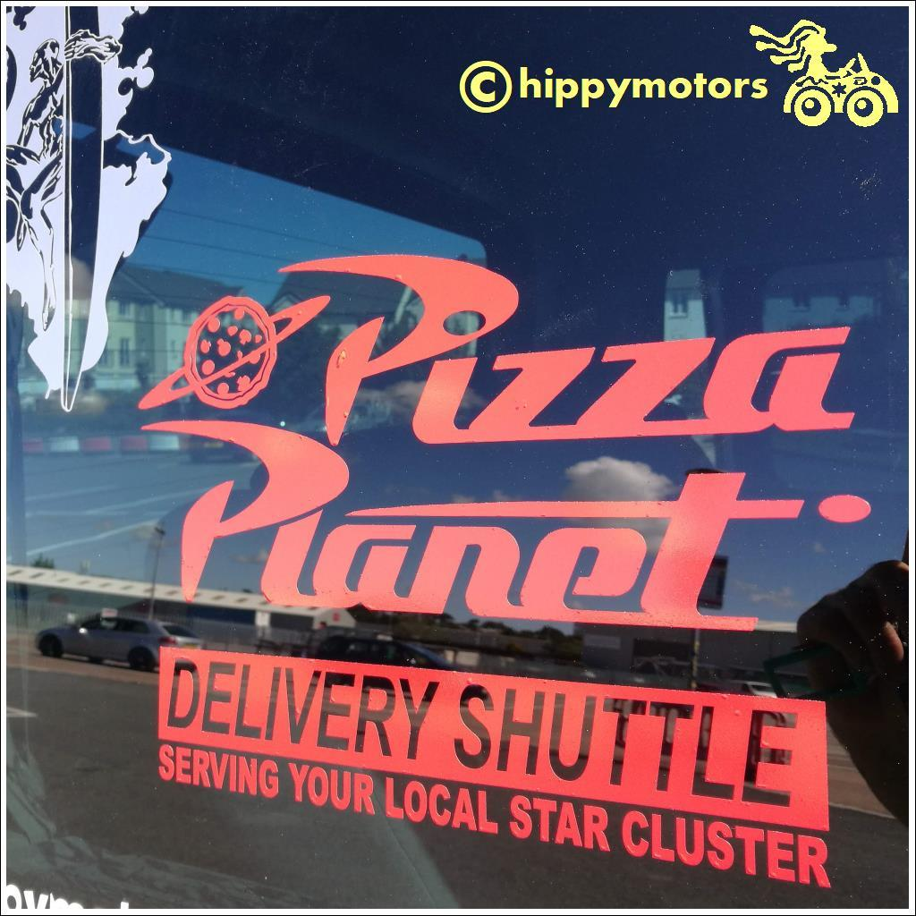 pizza planet decal on van