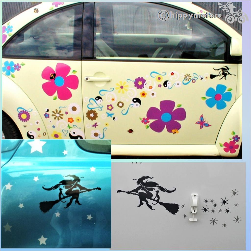 witch VW beetle stickers star decals hippy motors