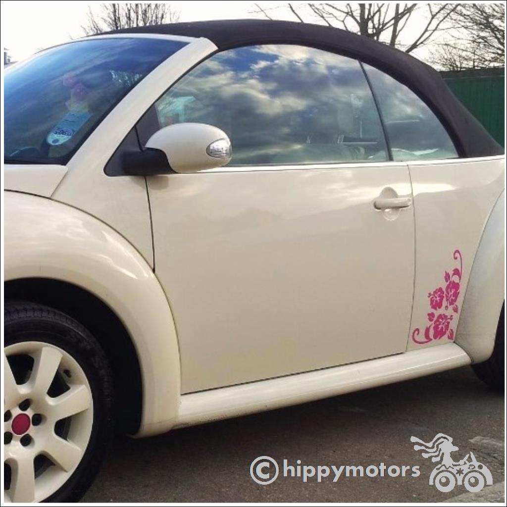 hibiscus corner transfer sticker on VW beetle
