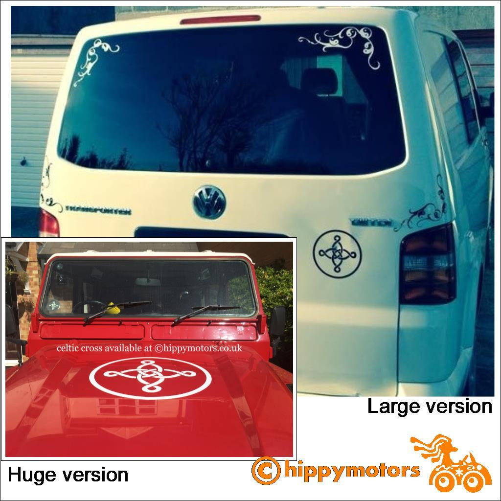 Celtic cross vinyl decal on jeep and camper van caravan