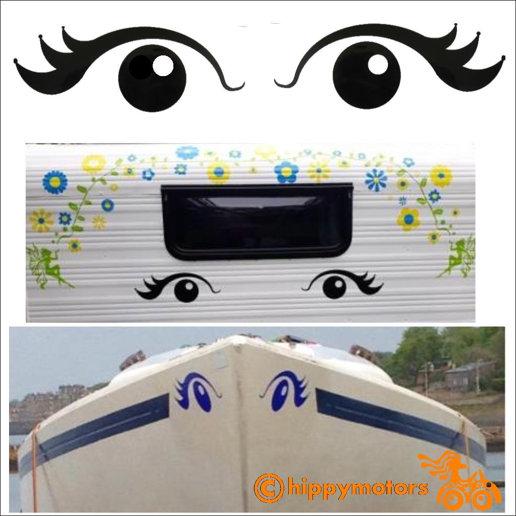 Giant eye vinyl decals on caravan and boat