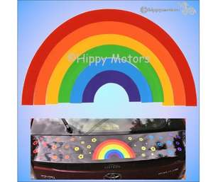 rainbow car sticker caravan decal hippy motors