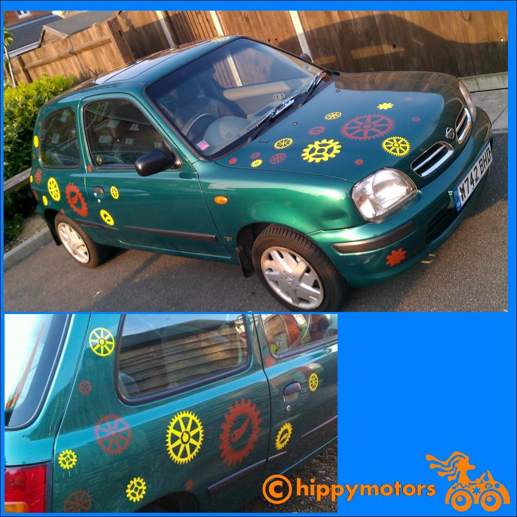 steampunk gears and cogs decals on a car