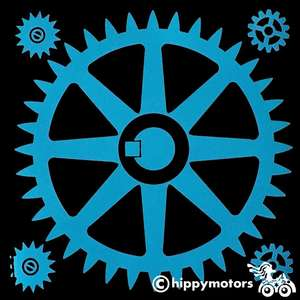 Vinyl decal sticker of a gear or cog for camper vans caravans cars and walls