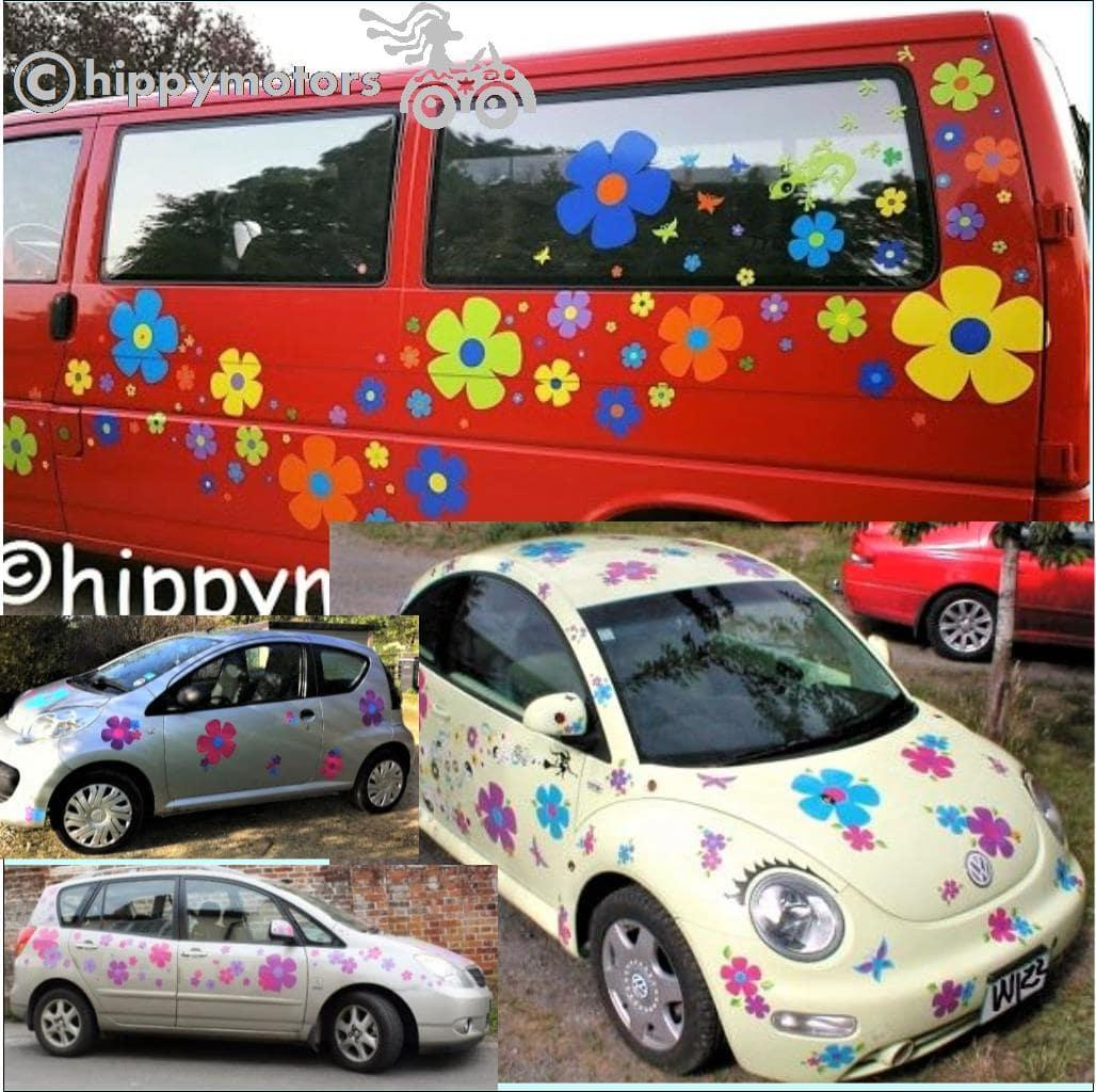hippy flower decals for camper vans and VW cars