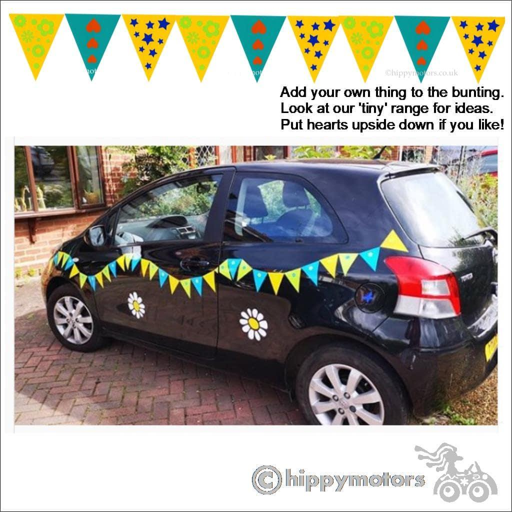 bunting vinyl decals on car