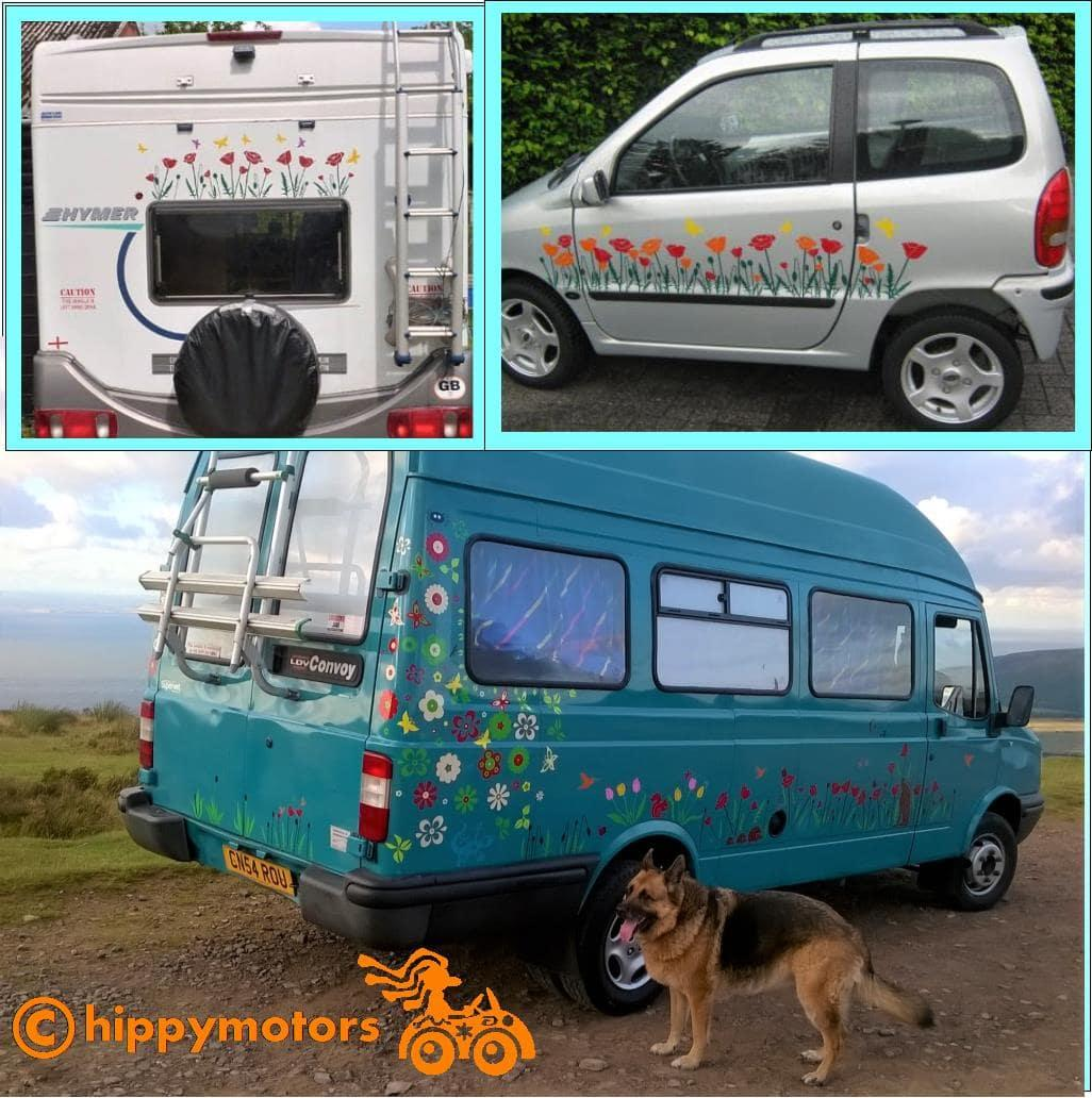poppy flower decals on motor home camper van by hippy motors