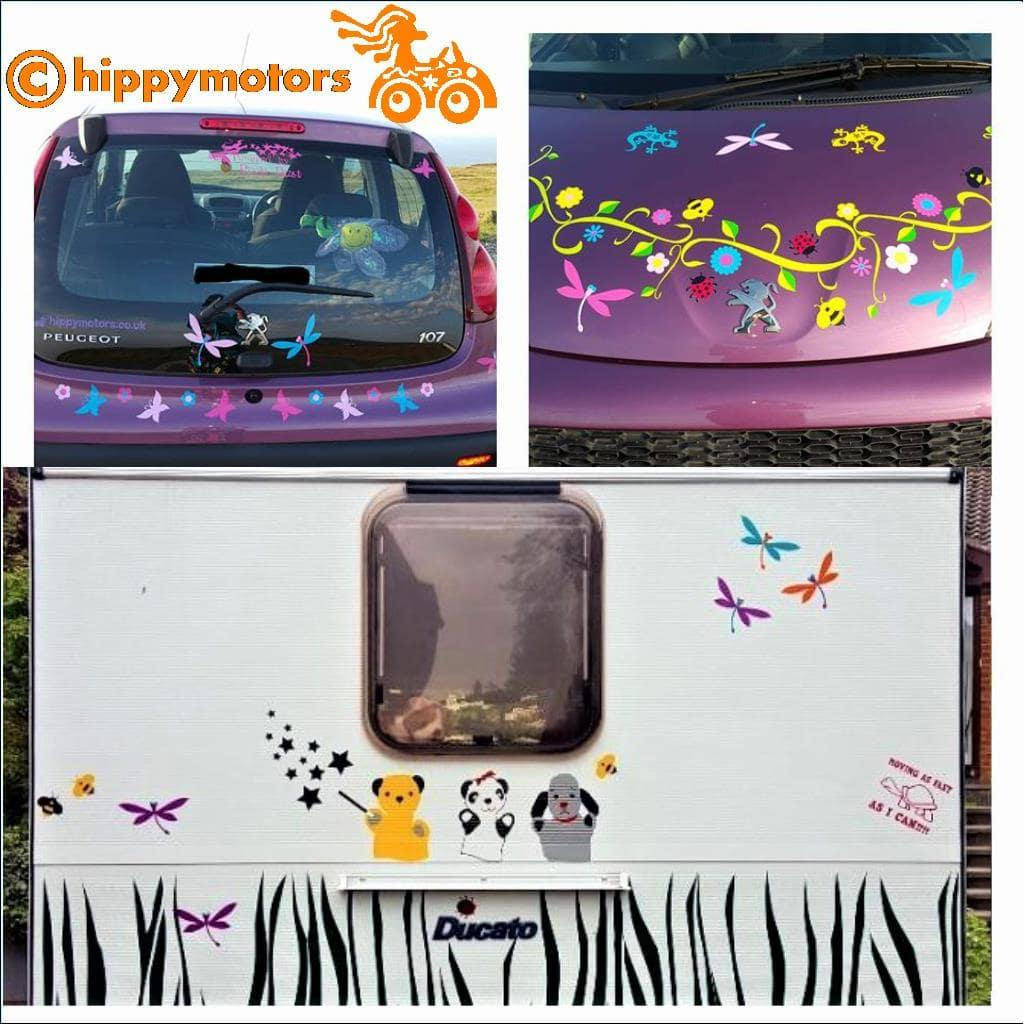 Dragonfly car stickers on caravan and car bonnet
