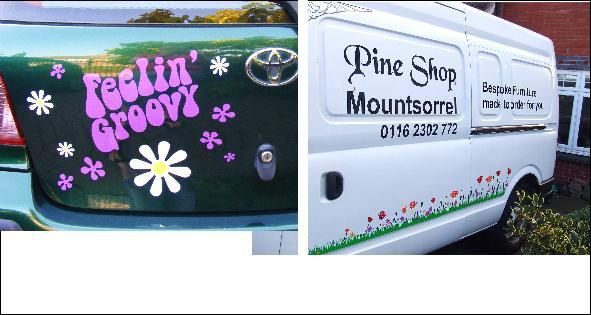 Custom decals and Hippy Sayings