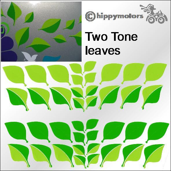 Two colour leaf decals