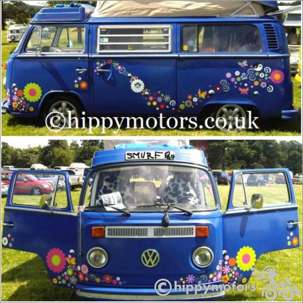Flowers and butterfly decals on VW camper van