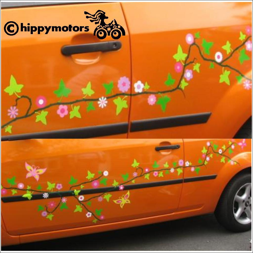 flower vine on car