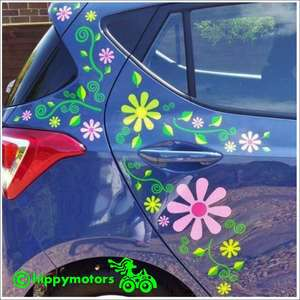 Daisy flower and leaf vinyl decals on a car