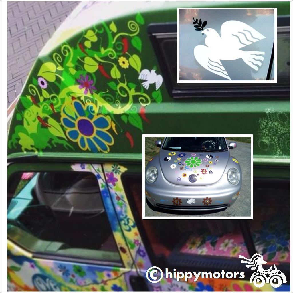 Peace dove decals on camper van
