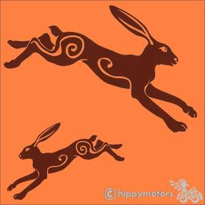 leaping hare car sticker decal hippy motors