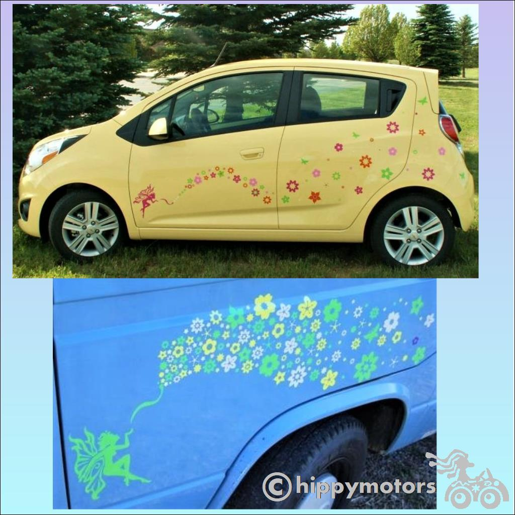 fairy kiss and flower decals hippy motors