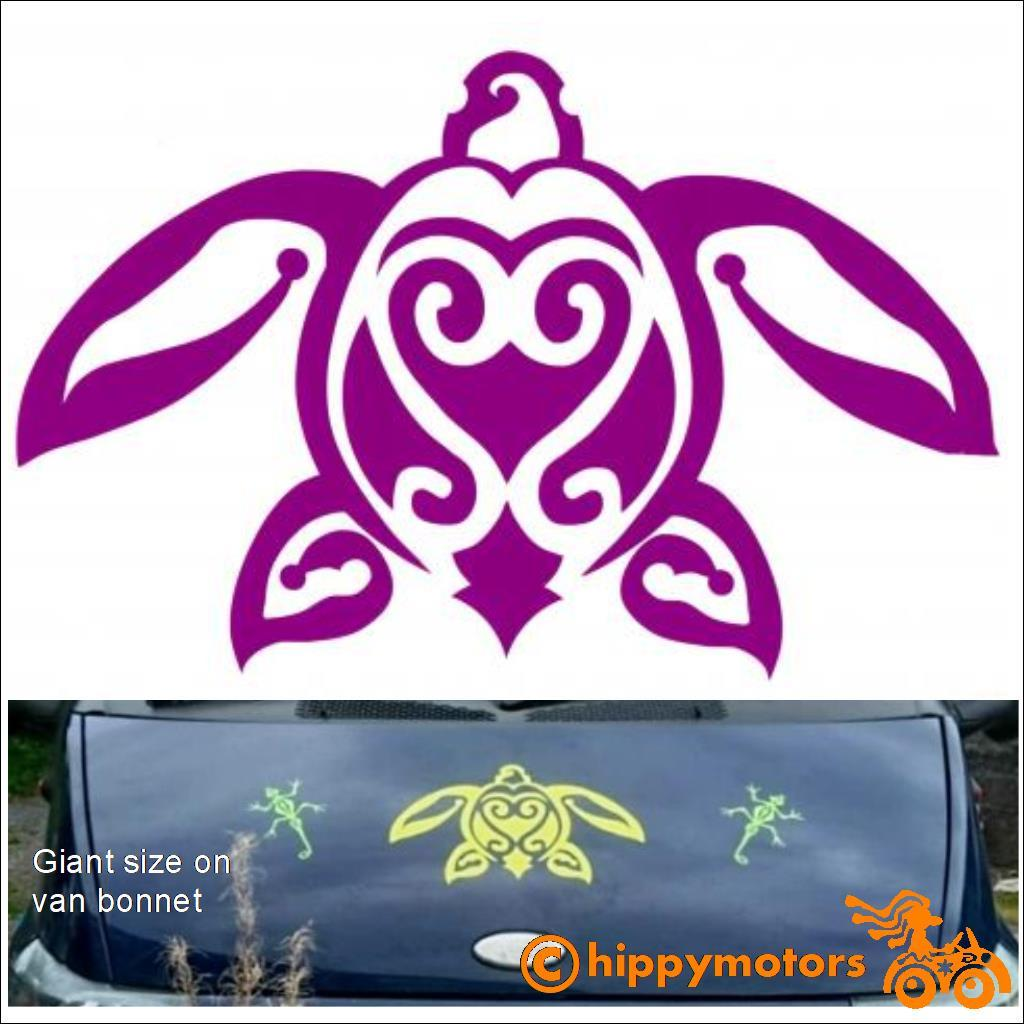 Turtle decal on car bonnet