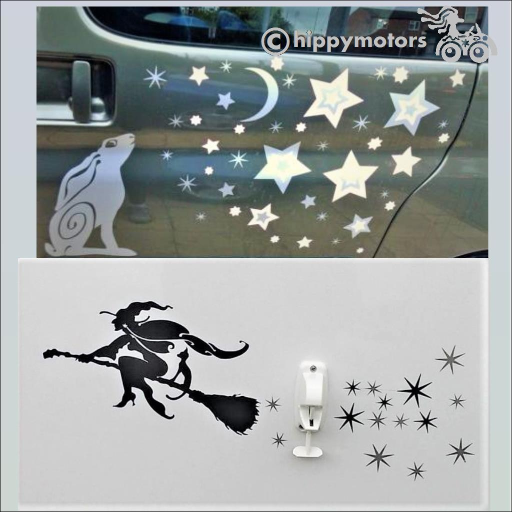 tiny star witch hare car stickers