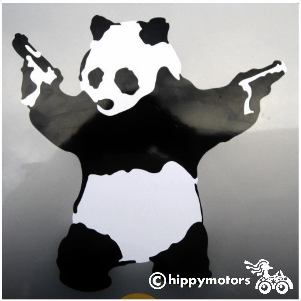 panda with guns decal