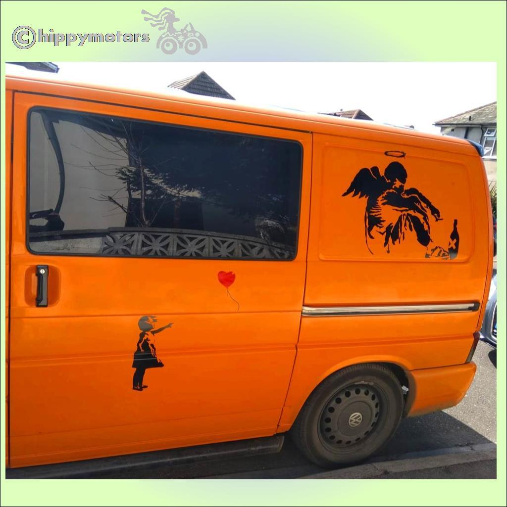 banksy angel window camper van transfers