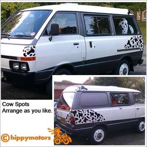 Cow Spot decals on a van