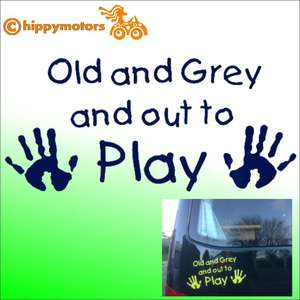 Old and grey and out to play decal