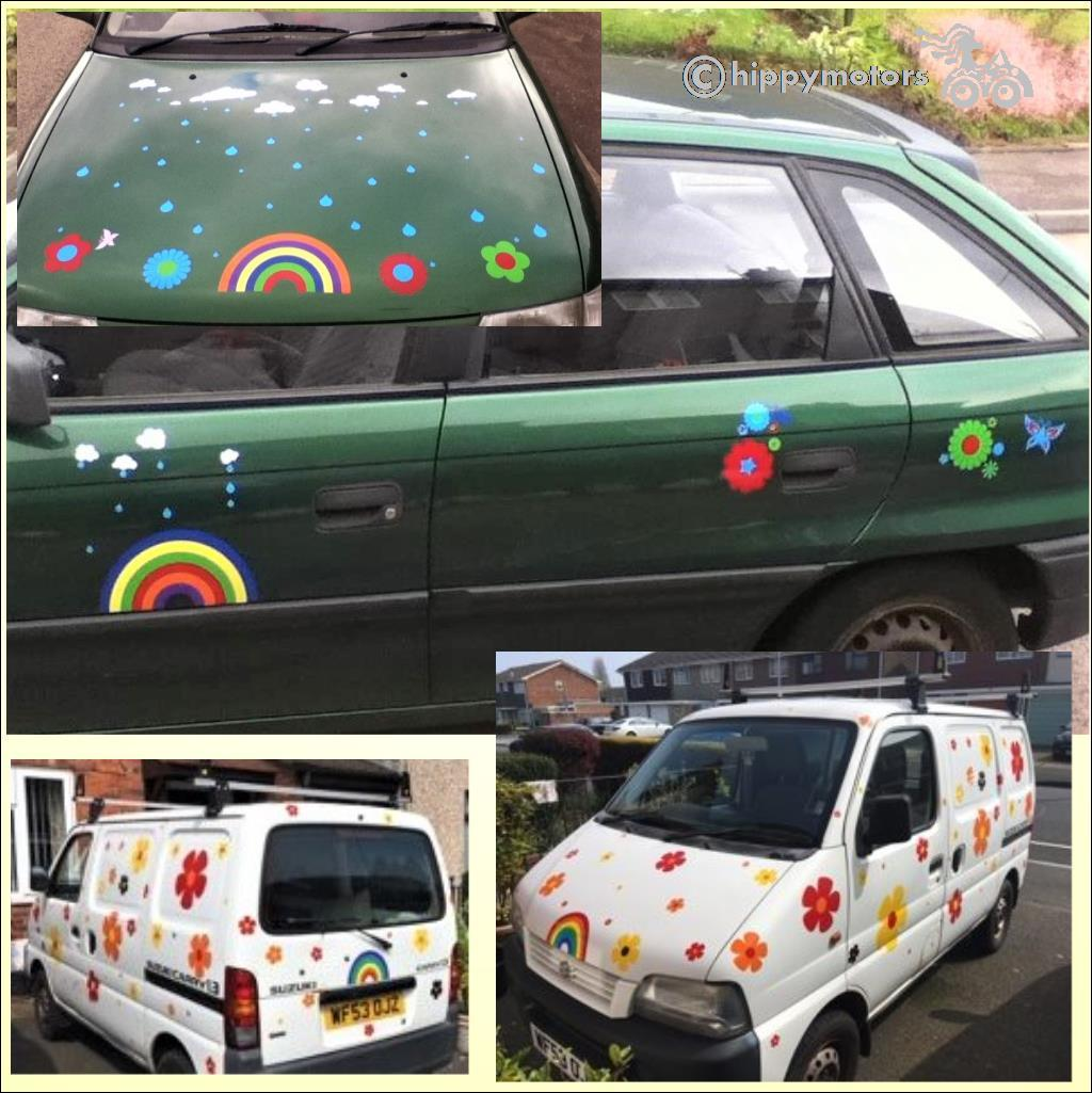 rainbow flower camper van people carrier sticker decals transfers hippy motors