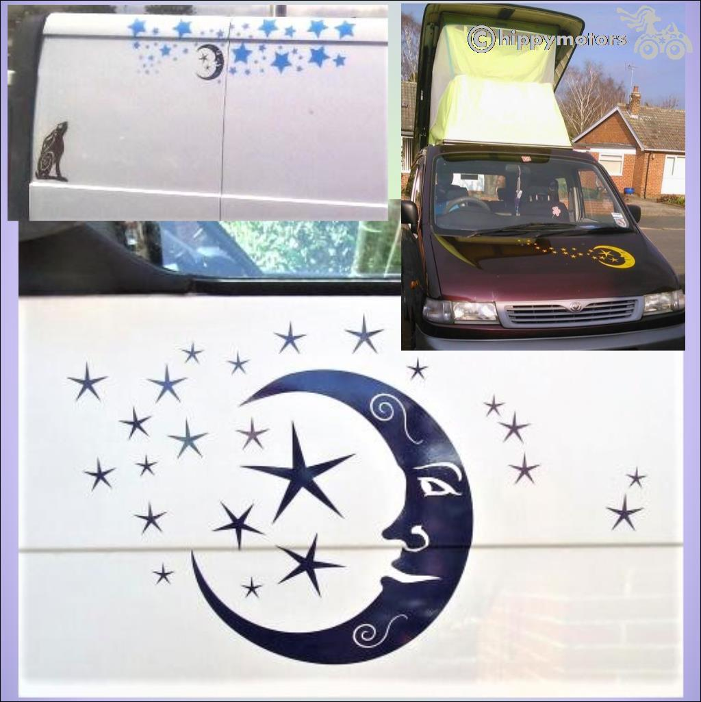 quality moon vinyl stickers window decal transfers hippy motors