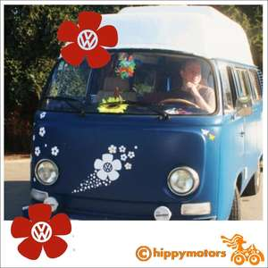 VW flower vinyl decals on a VW kombi or camper van