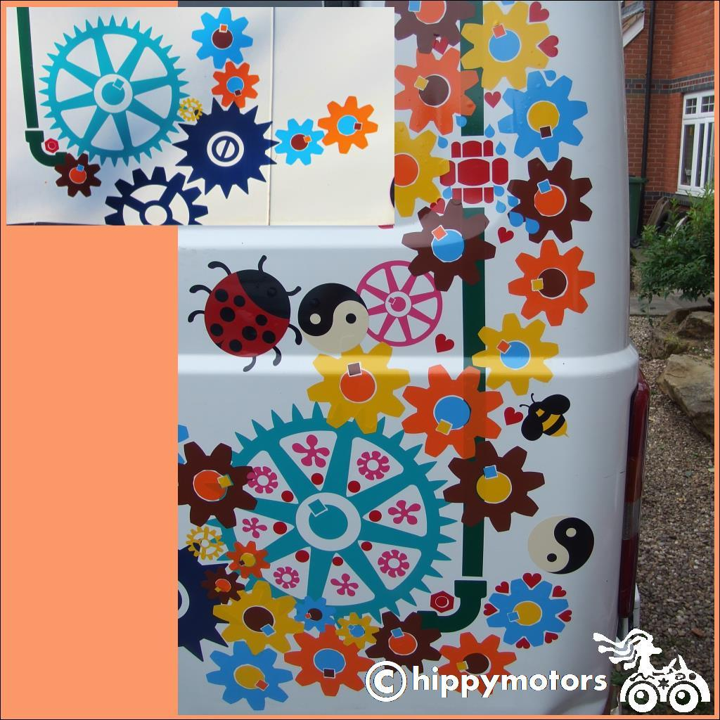 vinyl gears and cogs stickers on a minibus van