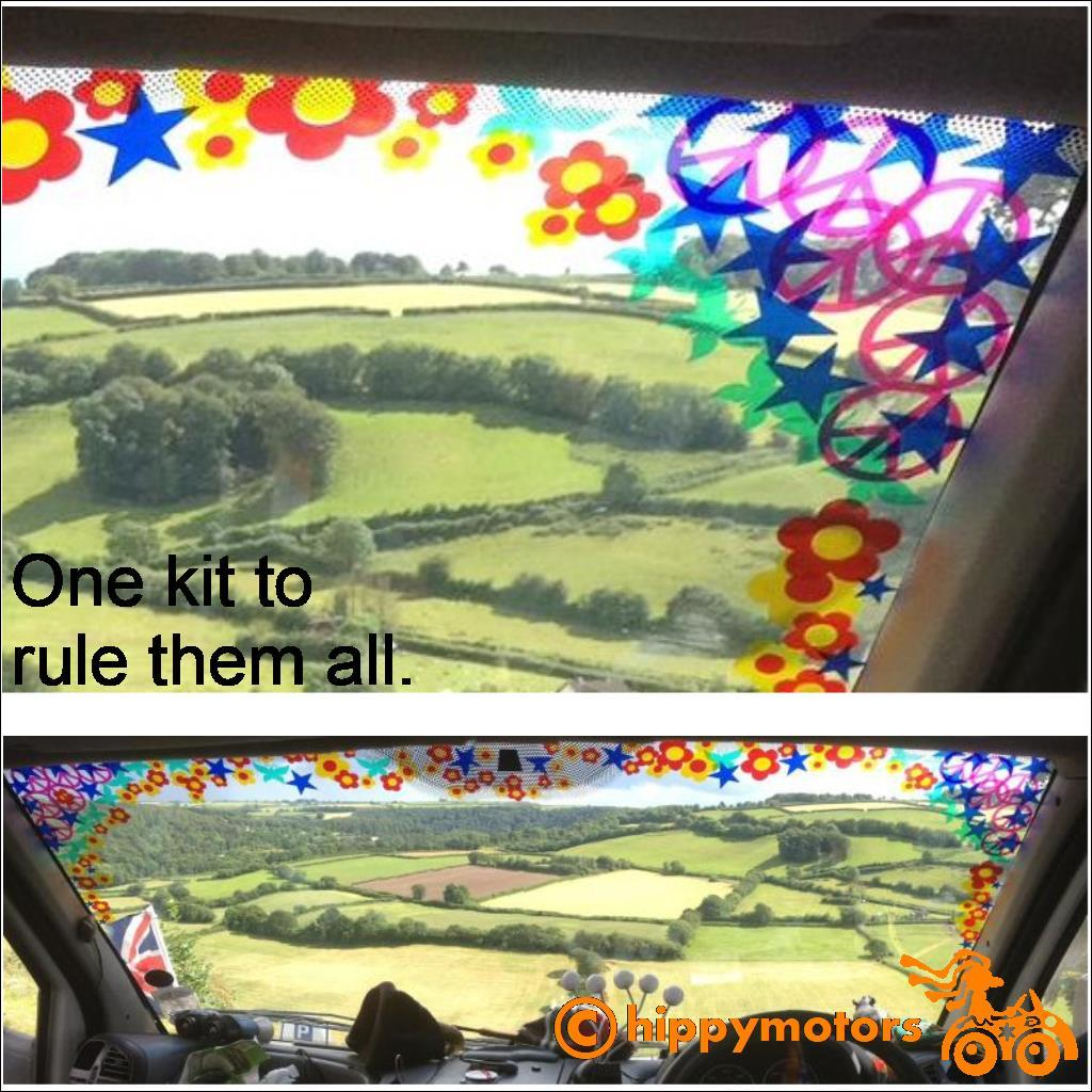 sun strip on a van with flowers stars CND symbols and butterflies