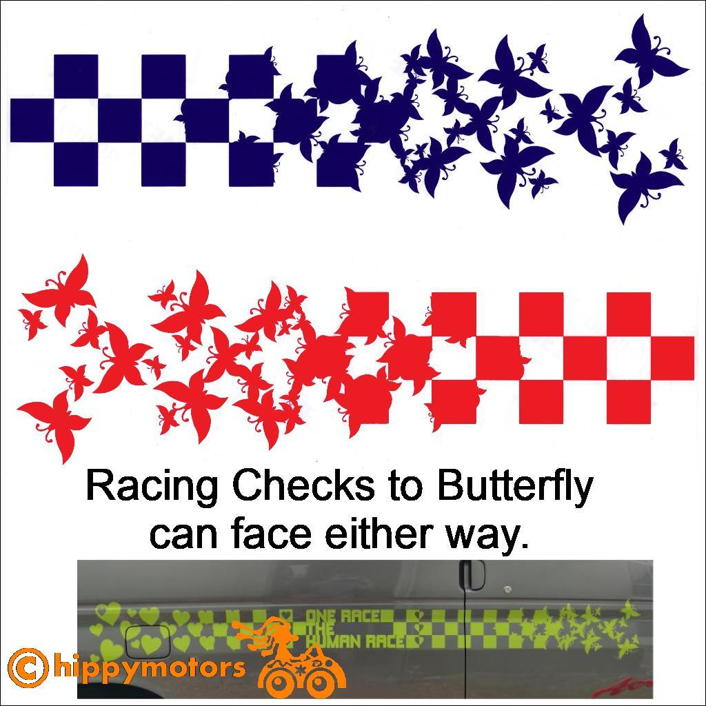 Racing Checks changing to Butterfly decals for caravans and cars
