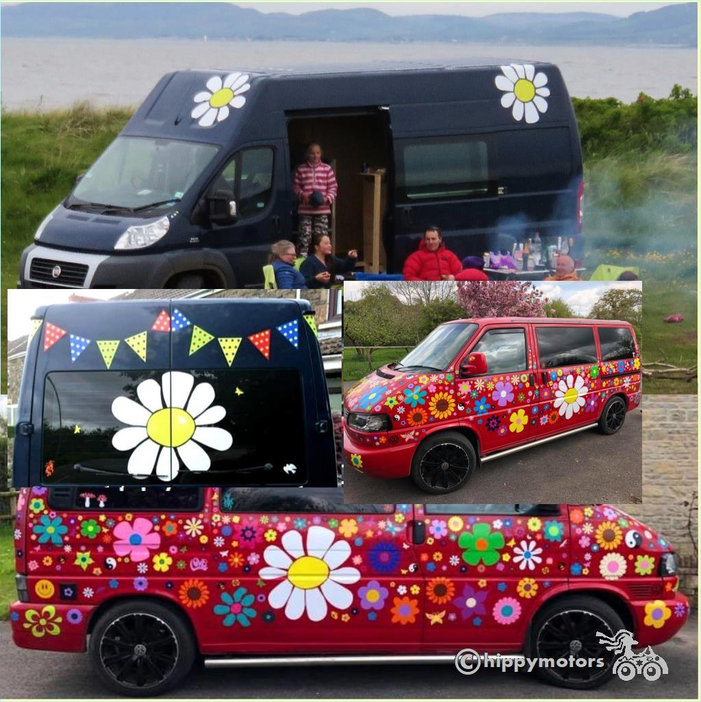 giant daisy flower vinyl stickers on motor home jeep and camper van