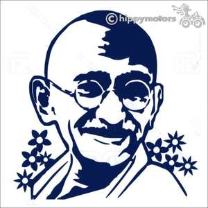 Decal for vehicles with Ghandi on it