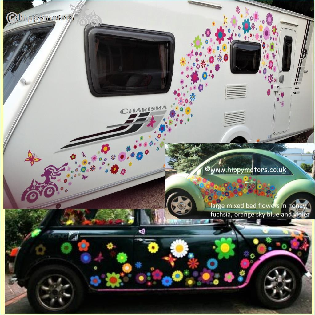 flower vinyl decals on caravan mini cooper