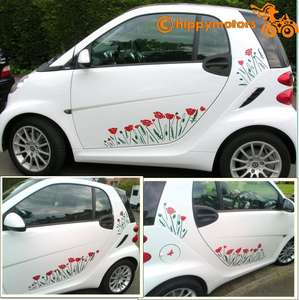 Poppy Decals on car by hippy motors